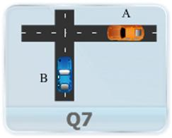 Car A is traveling east at the constant speed of 10 m/s as shown in Figure. As car A crosses the intersection, car B starts from rest 50 m north of the intersection and moves south with a constant acceleration of 2 m/s2. Determine the position, velocity and acceleration of B relative to A, 5 sec after A crosses the intersection.
