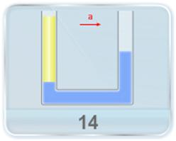 A U-tube contains two liquids of densities ρ1 and ρ2 as shown in figure. The tube is now given acceleration 'a' in the horizontal direction and the height difference in the sections is as shown. What is the ratio of densities of the two liquids ρ1: ρ2?