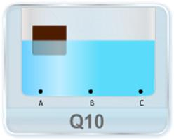 A wooden object floats in water kept in a beaker. The object is near a side of the beaker. Let P1, P2, P3 be the pressures at the three points A, B and C of the bottom as shown in figure. Which of the following is correct? (a) P1 = P2 = P3 (b) P1 < P2 < P3 (c) P1 > P2 > P3 (d) P1 = P2 ≠ P3