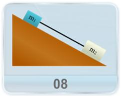 As shown in figure, two boxes m1 and m2 slide down an inclined plane while attached by a mass-less rod parallel to the plane. The coefficient of kinetic friction between surfaces is given. Find  a) The tension in the rod   (b) The magnitude of the common acceleration of the two boxes. (c) How would the answer to above questions change if the boxes shift their position with each other?