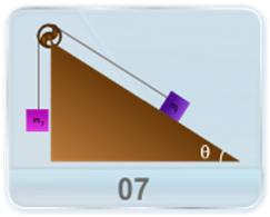 A block of mass m1 is kept on a fixed inclined plane and attached to a block of mass m2 by a rope over a pulley as shown in Figure. The angle of inclination with horizontal and the coefficient of friction are given. Find range of m2 for which m1 remains at rest.