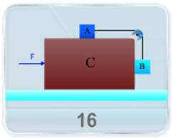 Consider the situation shown in figure. The horizontal surface below the bigger block is smooth. The coefficient of friction between the blocks is given. Find the minimum and the maximum force F on block 'C' that can be applied in order to keep the smaller blocks at rest with respect to the bigger block.