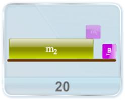 A block of mass m1 is placed on a block of mass m2, which rests on a smooth horizontal plane as shown in figure. The coefficient of friction between the blocks is known. The block m2 is subjected to the horizontal force F depending on time t as F = Kt (K is a constant). Find (a) the moment of time t at which the blocks start sliding and (b) the acceleration a1 and a2 of the two blocks respectively.