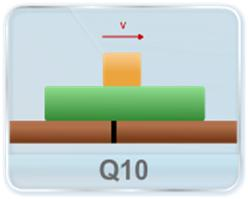 Find the direction of friction between the two blocks kept over each other, as shown in figure; if both are moving with same constant velocity towards right.