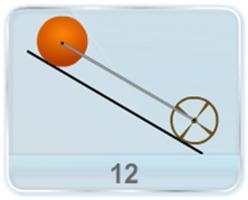 A solid sphere S and a thin hoop of equal mass m and R are coupled together by a mass-less road. This assembly is free to roll down the inclined plane without slipping. Determine the force developed in the rod and the acceleration of the system