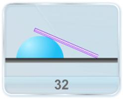 A uniform plank leans against a cylindrical body as shown in figure. The right end of the plank slides at a given constant speed. Find  the angular speed  and  the angular acceleration of the plank.