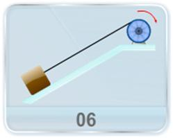 A pulley of radius R and moment of inertia I about its axis is fixed at the top of a frictionless plane inclined at an angle as shown in figure. A string is wrapped round the pulley and its free end supports a block of mass M which can slide on the incline. Initially, the pulley is rotating at a speed ω in a direction such that the block slides up the plane. How far will the block move before stopping?