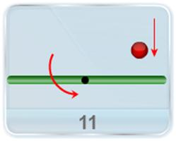 A thin uniform rod of length l and mass M is rotating horizontally in counter-clockwise direction with angular velocity ω about an axis through its centre. A particle of mass m hits the rod with velocity v0 and sticks to the rod. The particle's path is perpendicular to the rod at the instant of the hit, and at a distance d from the rod's centre. Answer the following.(a) At what value of d are rod and particle stationary after the hit? (b) In which direction do rod and particle rotate if d is greater than this value?